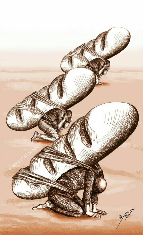 کولبران کورد اثر کارتونیست کورد: آرش صفری از كوردستان ، اسلام آباد غرب